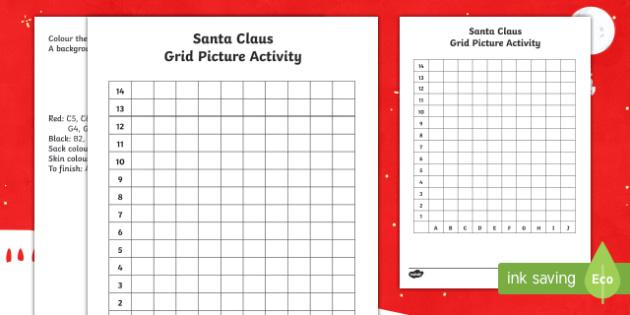 Santa Claus Grid Picture Activity Sheet