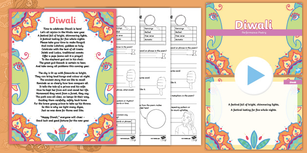 Diwali Rhyming Poem And Resource Pack Teacher Made Happy diwali poem in hindi font for 1, 2, 3, 4, 5 to 12 class students, short poem on diwali 2020 in hindi short hindi poem on diwali festival 2020. diwali rhyming poem and resource pack