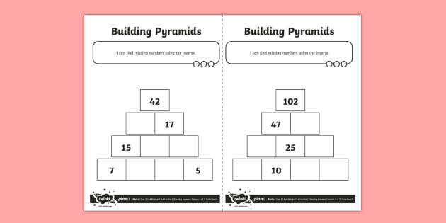 blank maths pyramid worksheet  worksheet  addition and subtraction blank maths pyramid worksheet  worksheet  addition and subtraction  opposite inverse reverses
