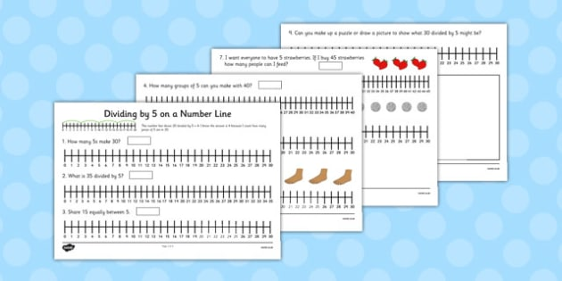 Multiplication and Division on a Number Line: Division by 5 on a Number Line