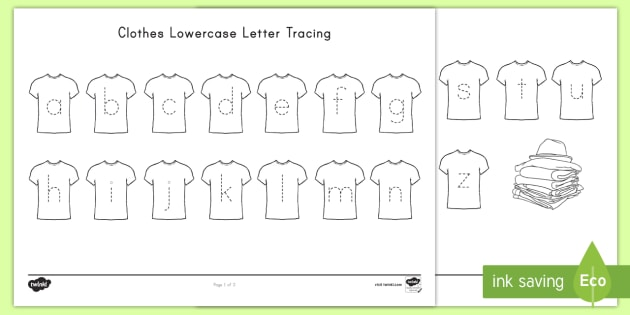 Clothes Lower Case Letter Tracing Worksheet / Activity Sheet