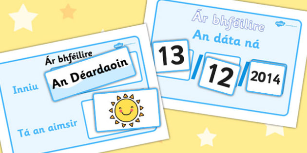 Daily Calendar Weather Chart Gaeilge - Weather, Calender, aimsir