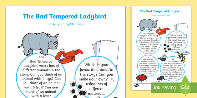 Home Learning Challenge Sheet Nursery FS1 - EYFS, Eric Carle, Bad Tempered Ladybird, minibeasts, animals, size, time, home learning, nursery, la