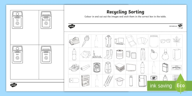 Recycling Sorting Worksheet
