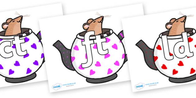 Final Letter Blends on Mouse in Teapots - Final Letters, final letter, letter blend, letter blends, consonant, consonants, digraph, trigraph, literacy, alphabet, letters, foundation stage literacy