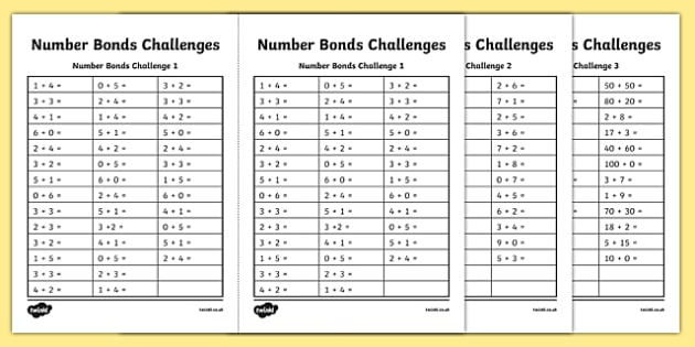 Number Bond Challenge Worksheet / Worksheet, worksheet