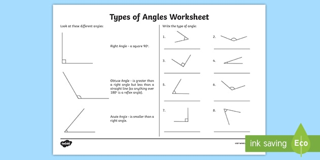 Types of Angles Worksheet - Math Resource - Twinkl