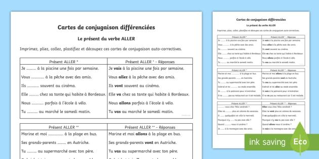 Cartes De Conjugaison Aller Au Present Teacher Made