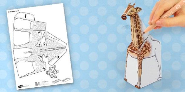 3D Giraffe Paper Model Activity - craft, paper, animal, model