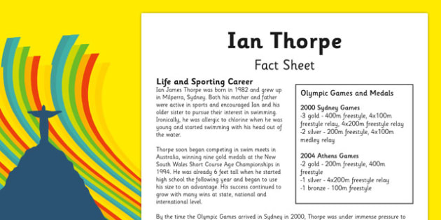 Australian Olympic Athletes Fact Sheet Ian Thorpe - Australia, Olympic Games, Olympics, Paralympics, Athletes, Information, Fact Sheet, Reading Comprehension, Year 6 History