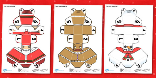 Paper Snow Bowling Pins Activity - paper, snow, bowling, pins, activity