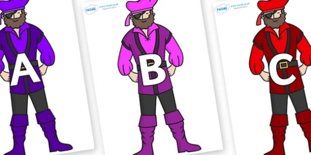 A-Z Alphabet on Pirates - A-Z, A4, display, Alphabet frieze, Display letters, Letter posters, A-Z letters, Alphabet flashcards