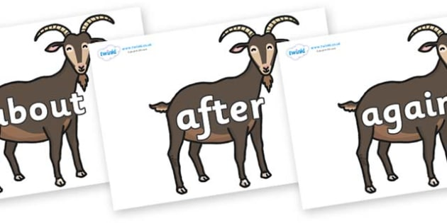 KS1 Keywords on Big Billy Goats - KS1, CLL, Communication language and literacy, Display, Key words, high frequency words, foundation stage literacy, DfES Letters and Sounds, Letters and Sounds, spelling
