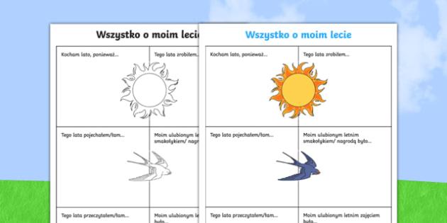 About My Summer Activity Sheet Polish-Polish, worksheet