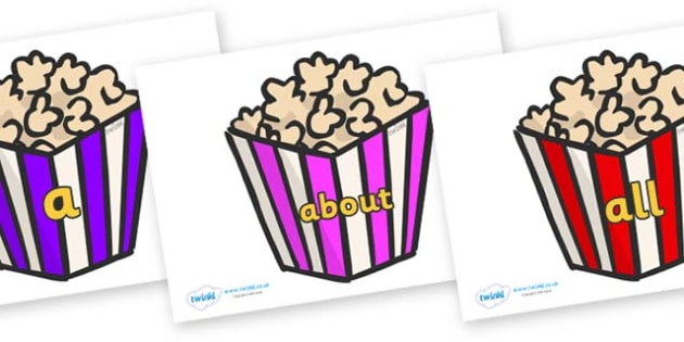 100 High Frequency Words on Popcorn - High frequency words, hfw, DfES Letters and Sounds, Letters and Sounds, display words