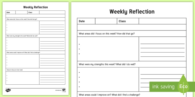 NQT Weekly Reflection Writing Template - ROI, Teaching