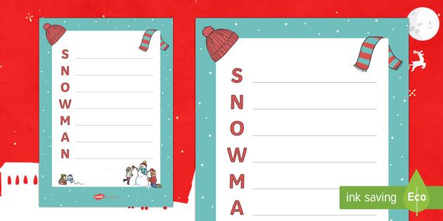 Christmas Snowman Acrostic Poem