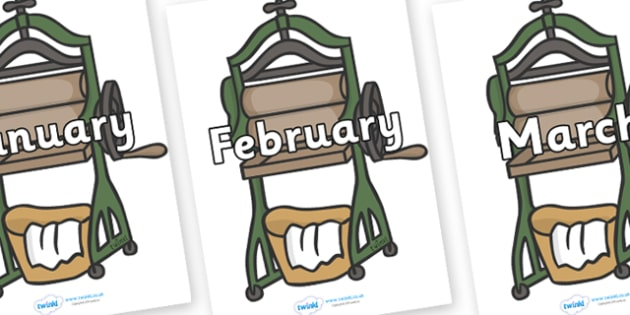 Months of the Year on Mangle - Months of the Year, Months poster, Months display, display, poster, frieze, Months, month, January, February, March, April, May, June, July, August, September