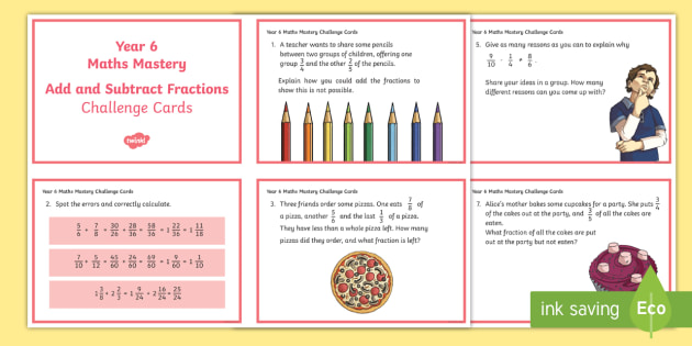 year 6 fractions add and subtract maths mastery activities