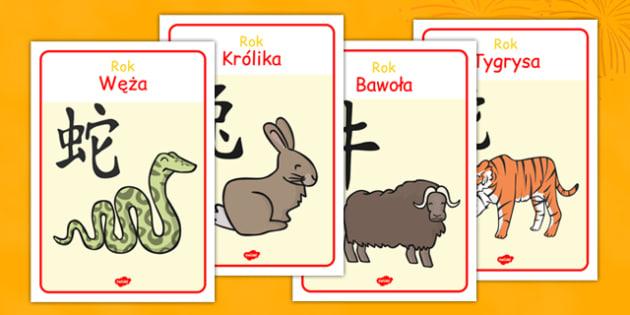 Materiały na gazetkę Chiński zodiak po polsku - Chiny, zwierzęta