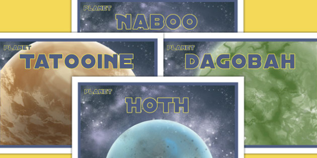 Space Wars Party Planet Posters - Hoth, Tatooine, Dagoba, Naboo, star wars, space wars