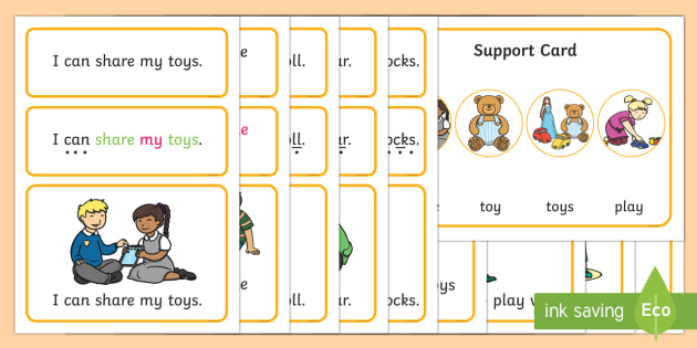 Toys Simple Sentence Cards - reading, sentences, eyfs, word cards, decoding, tricky words, sound button, phoneme, grapheme, phoni