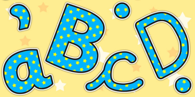 Blue And Yellow Stars Editable Display Lettering - letters