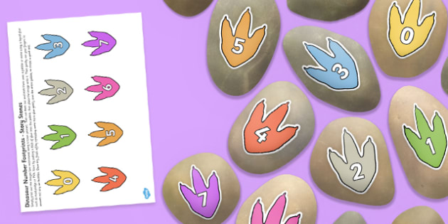Dinosaur Number Footprints Story Stone Image Cut Outs - dinosaur, number, footprints, story stone, image, cut outs