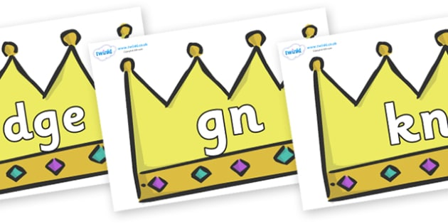 Silent Letters on Crowns (Plain) - Silent Letters, silent letter, letter blend, consonant, consonants, digraph, trigraph, A-Z letters, literacy, alphabet, letters, alternative sounds