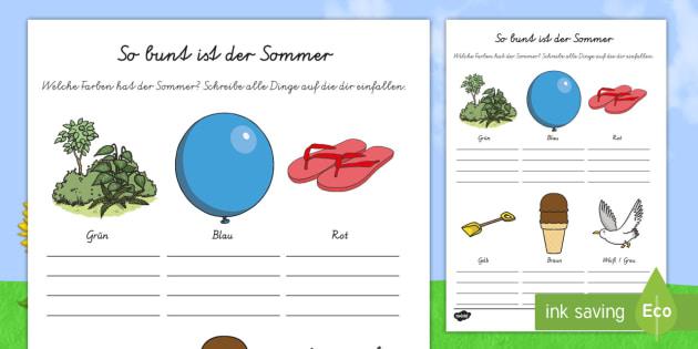 So bunt ist der Sommer Arbeitsblatt-German - Sommer