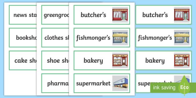 cartes de vocabulaire   les magasins - anglais lv