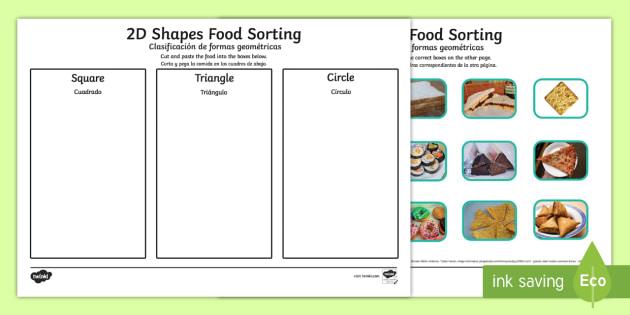 Food 2D Shape Sorting Worksheet / Activity Sheet English/Spanish