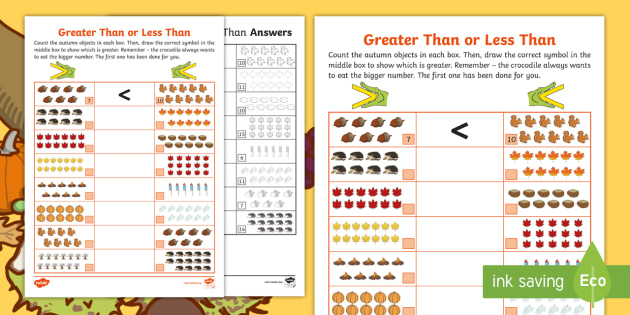 new  autumnthemed greater than or less than worksheet  maths place