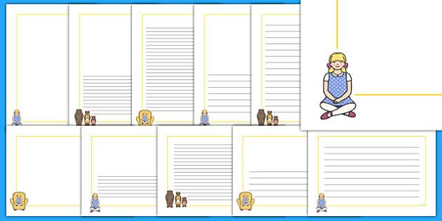 Goldilocks and the Three Bears Page Borders - Goldilocks, page border, a4 border, template, writing aid, writing border, page template, traditional tales, tale, fairy tale, three bears, porridge, cottage, beds
