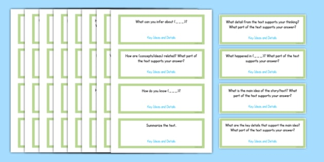 Common Core Fifth Grade Reading Informational Text Question Stem Cards - usa, US Resources, Grade 5, RI, Common Core, Question Stems, Question Starters