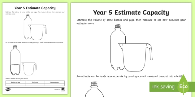 new year 5 estimate capacity worksheet year 5 estimation volume. Black Bedroom Furniture Sets. Home Design Ideas