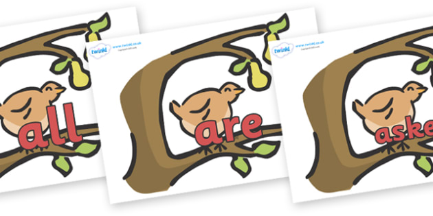 Tricky Words on Partridge in a Pear Tree - Tricky words, DfES Letters and Sounds, Letters and sounds, display, words