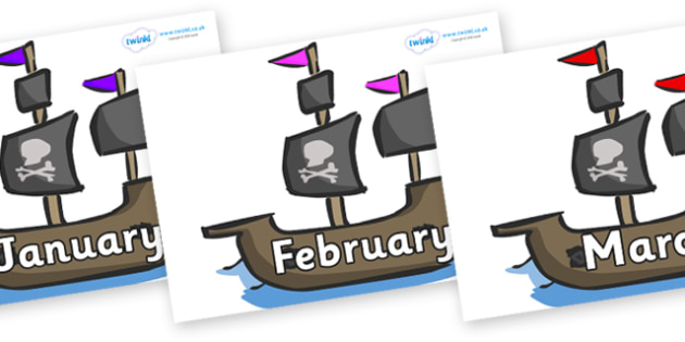 Months of the Year on Pirate Ships - Months of the Year, Months poster, Months display, display, poster, frieze, Months, month, January, February, March, April, May, June, July, August, September