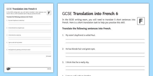 GCSE French: Translation into French - Foundation Tier Activity Sheet 6-French, worksheet