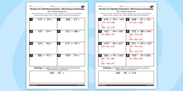 Y3 Inverse 3 Digit 2 Mix With Carry Exchange Choice Method Sheet