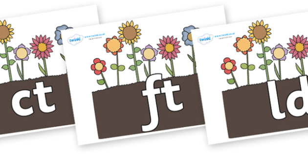 Final Letter Blends on Flowers in Garden - Final Letters, final letter, letter blend, letter blends, consonant, consonants, digraph, trigraph, literacy, alphabet, letters, foundation stage literacy
