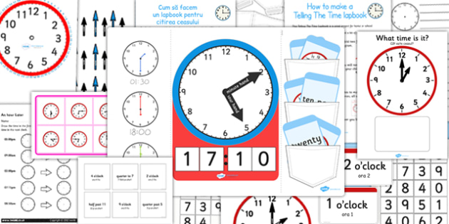 Telling The Time Lapbook Creation Pack Romanian Translation - romanian, lapbooks, pack, time