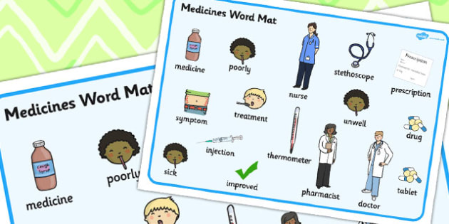 Medicine Word Mat - Medicine, Word, Mat, Pills, Tablets, Words