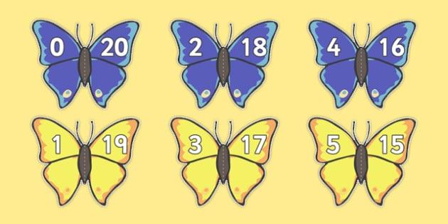 Number Bonds to 20 Matching Cards (Butterflies) - Number Bonds, Butterfly, butterflies Matching Cards, Number Bonds to ten, counting, number recognition