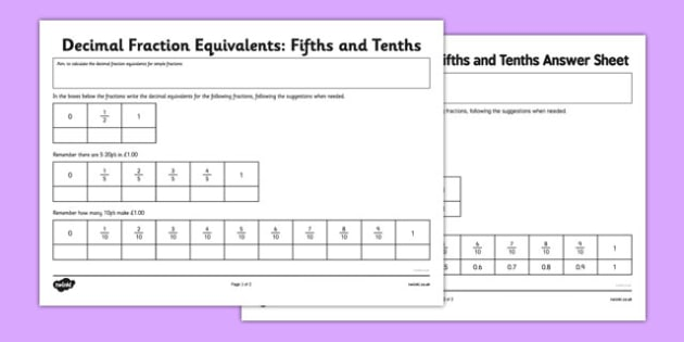 Year 6 Decimal Equivalents Fifths and Tenths Worksheet / Activity Sheet - Key Stage 2, KS2, Maths, Decimals, worksheet