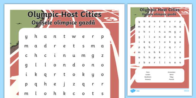 Olympic Host City Word Search Romanian Translation - romanian, host city, word search