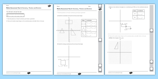 Year 6 Maths Assessment: Geometry - Position and Direction Term 1 - maths, Autumn Term Maths Assessment