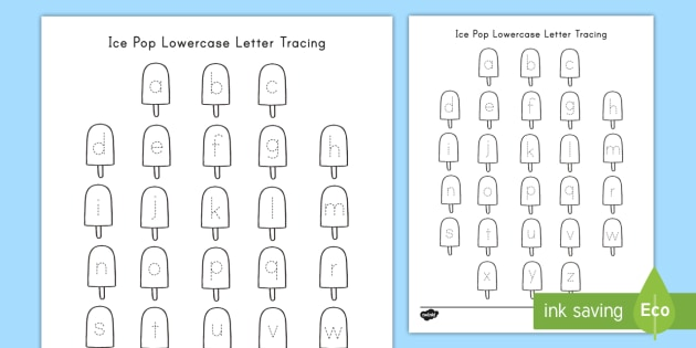 Ice Pop Lowercase Letter Tracing Worksheet (teacher Made)
