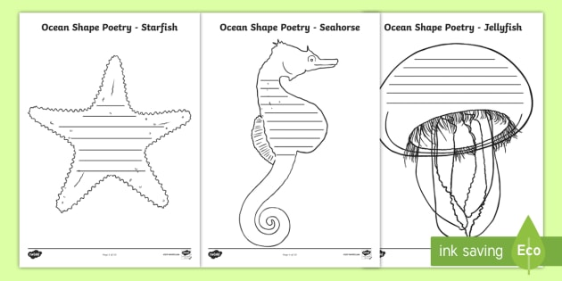 ocean shape poetry writing template under the sea marine