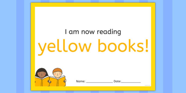I'm Now Reading Yellow Books Certificate - certificate, coloured, reading, book